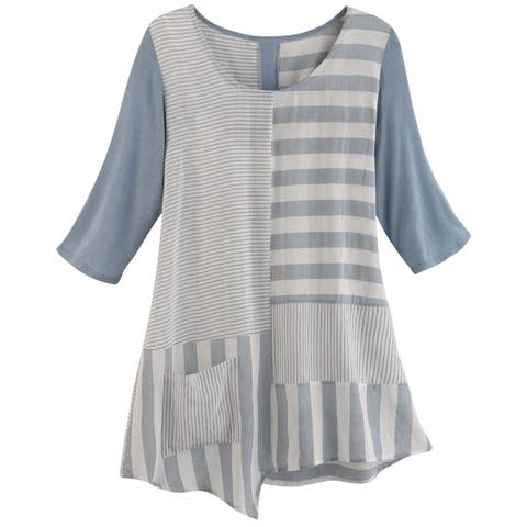 Inside Out Women's Mixed Stripes Tunic Top - Scoop Neck 3/4 Sleeve Shirt, Blue