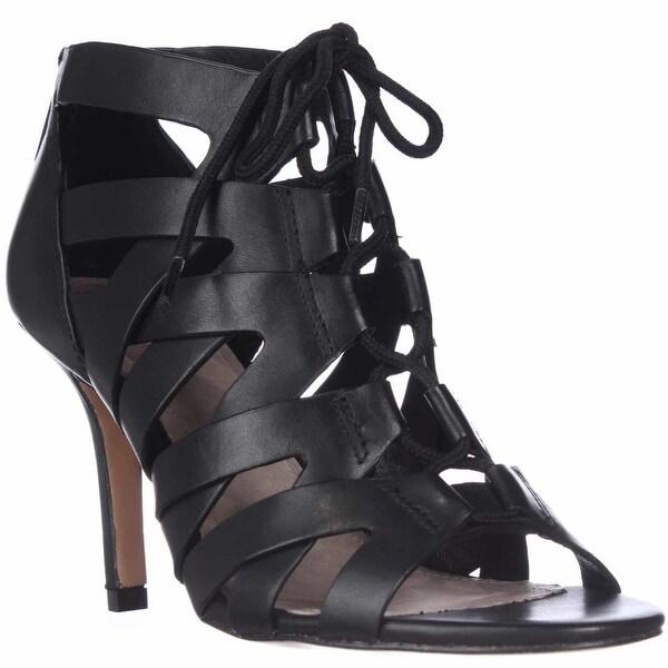 Pour La Victoire Camila Lace-Up Gladiator Sandals, Black Leather - 5.5 us
