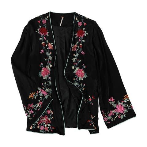 Free People Womens Embroidered Blazer Jacket, black, Small