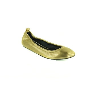 Lanvin Women's Golden elasticated Goatskin leather slip-on flat