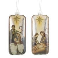 "Set of 6 Gold Finish Glass Decorative Holy Family Nativity Ornament 8"""