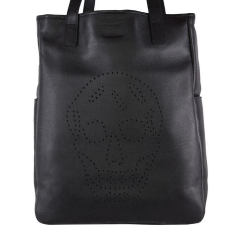 Alexander Mcqueen AM 324906 Black Leather Perforated SKULL Large Tote Purse Bag