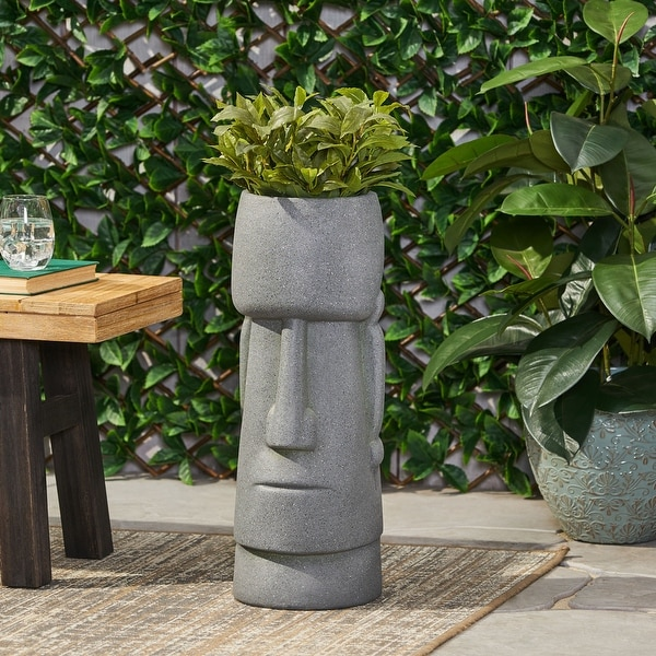 Sumner Outdoor Cast Stone Outdoor Polynesian Decorative Planter by Christopher Knight Home. Opens flyout.