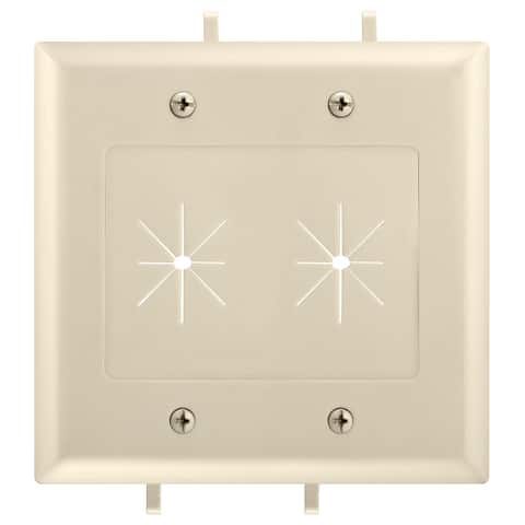 DataComm 45-0015-IV Two-Gang Low-Voltage Cable Plate With Flexible Opening - Ivory
