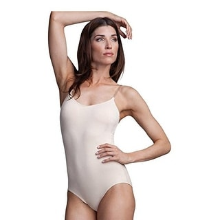 Capezio Womens Camisole Leotard with BraTek w/Clear Straps, Nude, Small