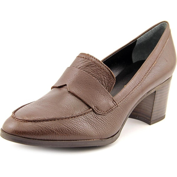 Franco Sarto L-Adobe Women Round Toe Leather Brown Heels