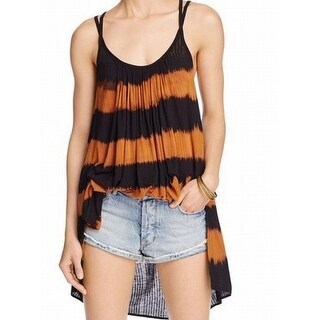 Free People NEW Black Womens Size Large L High-Low Striped Tunic Top