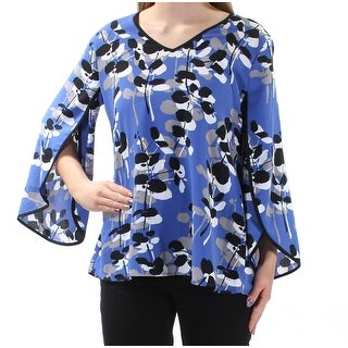 ALFANI $70 Womens New 1591 Blue Floral 3/4 Sleeve Jewel Neck Casual Top 2 B+B