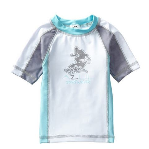 Azul Unisex Baby Aqua Grey Short Sleeve Trendy Solid Combo Rash Guard