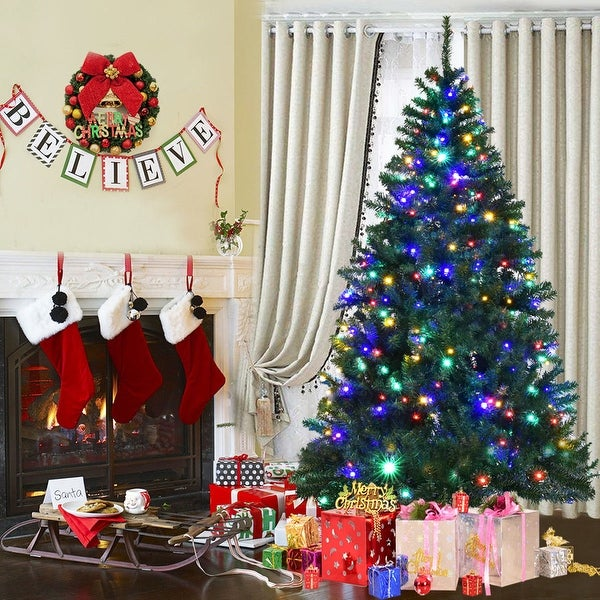 Costway 6' Pre-Lit Artificial Christmas Tree Premium Hinged w/ 350 LED Lights & Stand - green