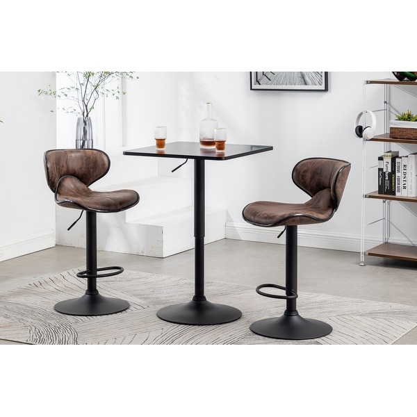 Adjustable 27-36 Height Industrial Height Metal Bar Table Swivel Square Cocktail Black. Opens flyout.
