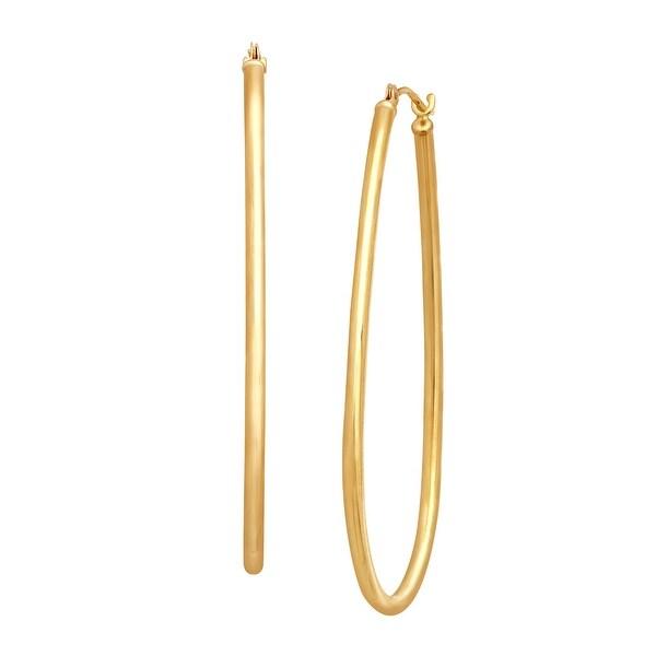 Eternity Gold Oblong Hoop Earrings in 14K Gold - YELLOW