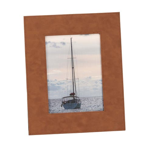"5"" X 7"" Caramel Brown Leatherette Rectangular Photo Frame"