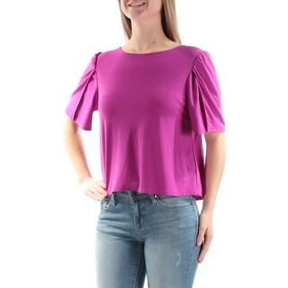 KENSIE $49 Womens New 1427 Purple Tie Back Jewel Neck Short Sleeve Top M B+B