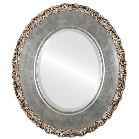 Williamsburg Silver Leaf/ Brown Antique Framed Oval Mirror - Silver/Brown