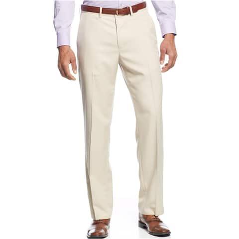 Haggar Mens Micro Check Dress Pants Slacks, Beige, 36W x 32L - 36W x 32L
