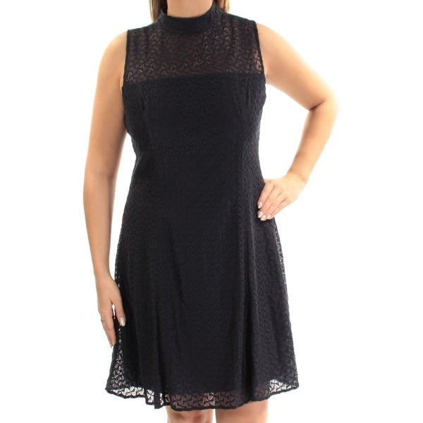 AMERICAN LIVING Womens Navy Sleeveless Illusion Neckline Above The Knee Fit + Flare Dress Size: 16