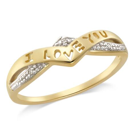 "Forever Last 10kt YG ladies fashion ""I Love You"" diamond ring"