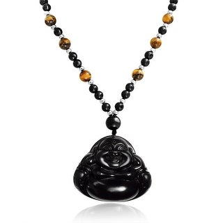 Laughing Buddha Obsidian Pendant Natural Tigers Eye Bead Necklace 26 Inches - Black