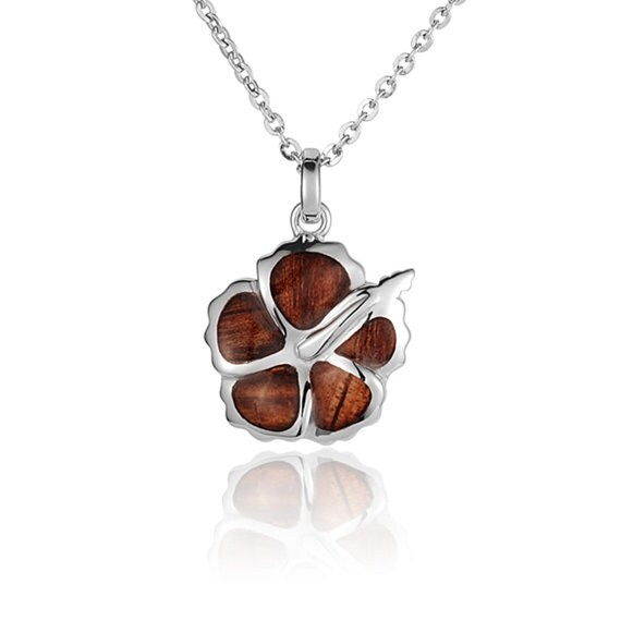 "Hibiscus Necklace Koa Sterling Silver Pendant 18"" Chain"