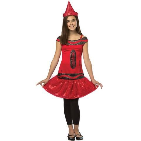 Rasta Imposta Crayola Glitz and Glitter Big Dip O Ruby Dress Child Costume (7-10) - Solid