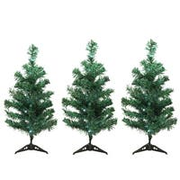Set of 3 LED Lighted Christmas Tree Driveway or Pathway Markers Outdoor Decorations - Green