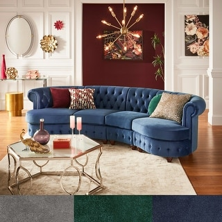 Link to Morgan Velvet Tufted Scroll Arm Chesterfield 4-Seat Curved Sofa  by iNSPIRE Q Bold Similar Items in Living Room Furniture