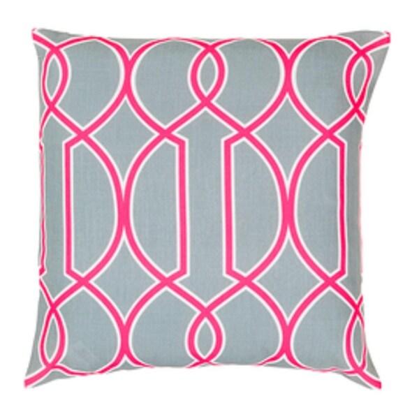 "22"" Heather Gray and Hot Pink Trellis Decorative Throw Pillow - Down Filler"