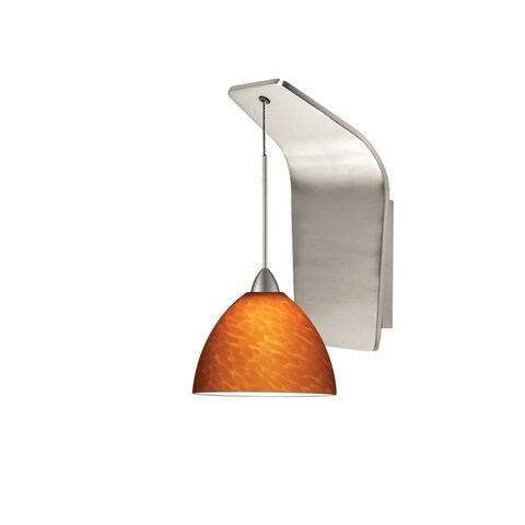 WAC Lighting WS72LED-G541 Faberge Hand Mottled Glass Socketed LED Dimming Wall Sconce with Sloped Hanging Accent