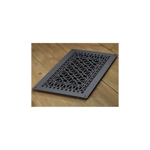"""Reggio Registers 1426-NH Scroll Series 24"""" x 12"""" Floor Grille without - Cast Iron"""
