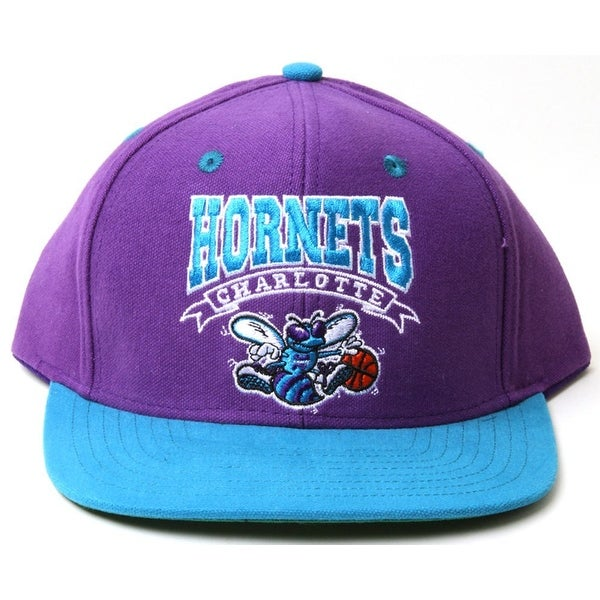 save off 099ac 3fa09 Shop Vintage NBA Charlotte Hornets Two Tone Purple and Teal Snapback Hat -  Free Shipping On Orders Over  45 - Overstock - 16948031