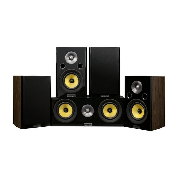 Fluance Signature Series Compact Surround Sound Home Theater 5.0 Channel System - Walnut (HF50WC)
