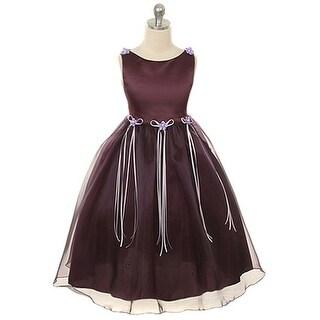 Kids Dream Girls Eggplant Rosebud Organza Flower Girl Dress 8-14