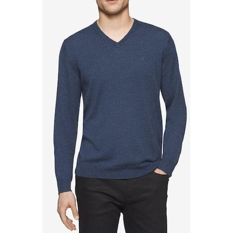 Calvin Klein Men's Merino Crew-Neck Sweater Blue Size X-Small - XS