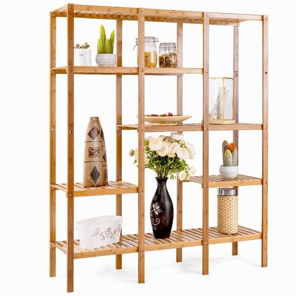 Costway Multifunctional Bamboo Shelf Storage Organizer Rack Plant Stand Display Closet - bamboo color