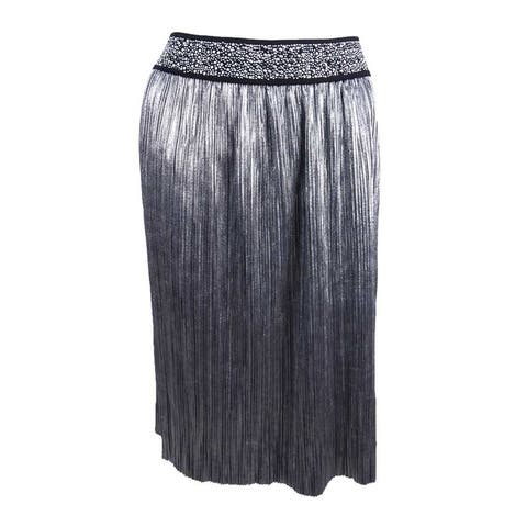 MSK Women's Metallic A-Line Skirt - Silver