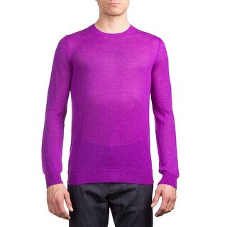 Prada Men's Alpaca Knitted Crewneck Sweater Purple