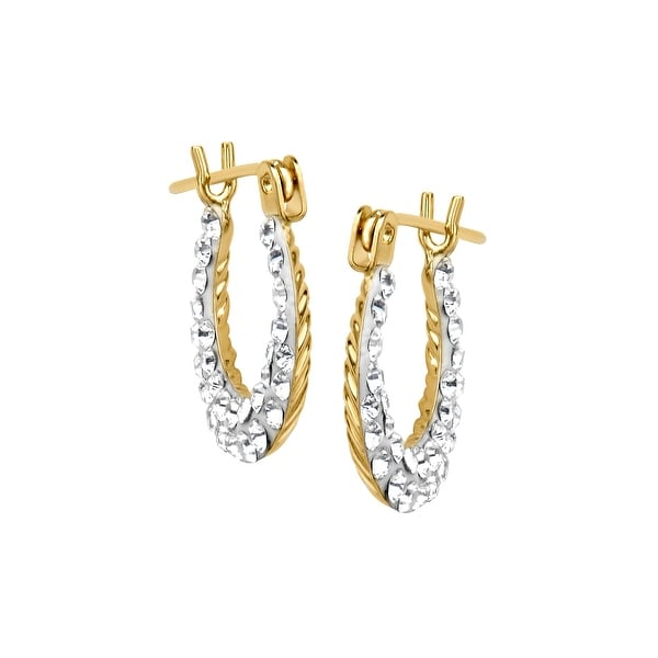 Crystaluxe Girl's Reversible Hoop Earrings with Swarovski Crystals in 14K Gold