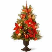 3 ft. Decorative Collection Home For the Holidays Entrance Tree with Clear Lights - green