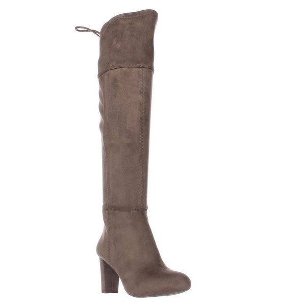 I35 Hadli Fringe Tie Pull On Over The Knee Boots, Warm Taupe