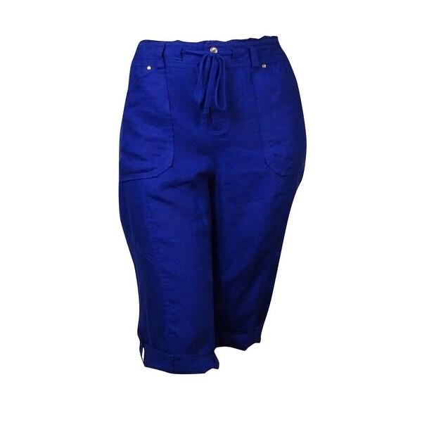 INC International Concepts Women's Linen Skimmer Short Pants - goddess blue