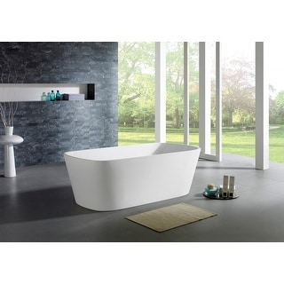 Aquamoon Potenza 67-inch freestanding white acrylic soaking bathtub