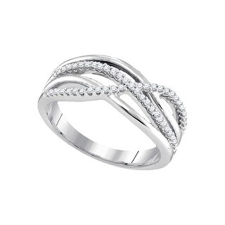 10k White Gold Womens Natural Round Diamond Crossover Woven Fashion Band 1/5 Cttw