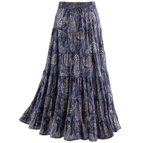 Women's Sequins & Paisley Skirt- Blue Tiered Broomstick Elastic Drawstring Waist