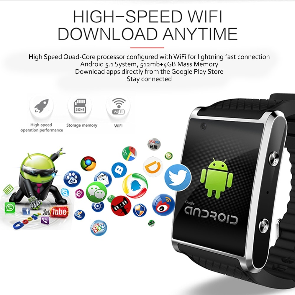 Indigi 2018 3G Android 5 1 Smart Watch Phone (GSM Factory Unlocked) Maps -  WiFi - GPS - Google Play Store