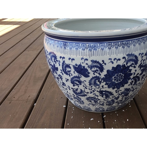 Handmade Porcelain 16 Inch Blue And White Fl Fishbowl China Free Shipping Today 5671229