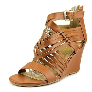 Kenneth Cole Reaction Avatude Women Open Toe Synthetic Tan Wedge Sandal