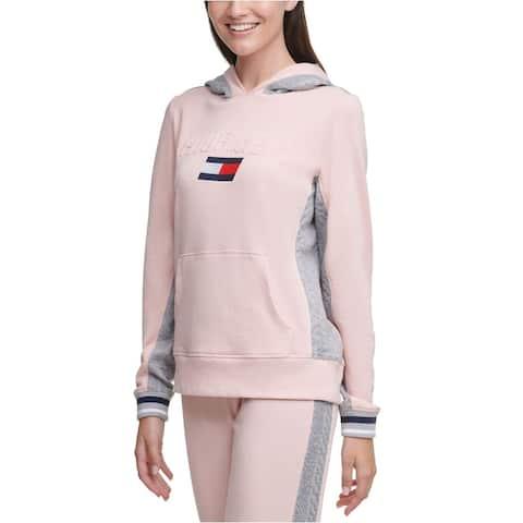 Tommy Hilfiger Women's Sport Logo Hooded Sweatshirt Dark Pink Size XS - X-Small