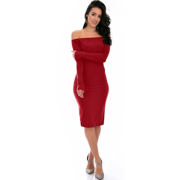 5e4bc95d73b4 Shop Bold Move Off The Shoulder Bodycon Burgundy Midi Dress-Burgundy ...