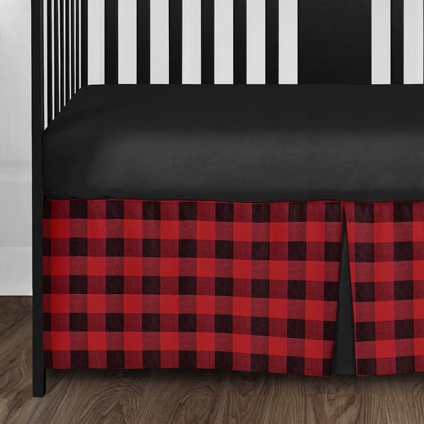 Red and Black Buffalo Plaid Crib Sheet